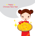 Girl Holding Dish Of Gold vector image