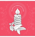 Hand drawn pattern with Christmas candle and vector image vector image