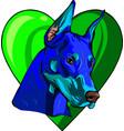 head dobermann with heart vector image vector image