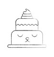 Kawaii brithday cake funny cartoon sweet vector image