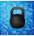 kettlebell and hand draw sport icon vector image vector image