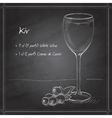 Kir alcohol cocktail on black board vector image vector image