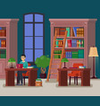 librarian or student at library or athenaeum vector image