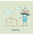 man shows the house vector image vector image