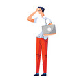 man with laptop stands and holds his hand to head vector image