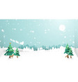 merry christmas winter snow countryside landscape vector image vector image