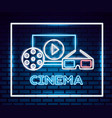 movie time neon vector image vector image