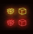 neon open box cube signs isolated on brick vector image vector image