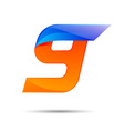 Number nine 9 logo orange and blue color with fast vector image vector image