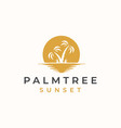 palm tree with sunset background logo template vector image