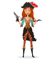 pirate lady presenting something cartoon vector image