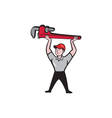 Plumber Lifting Monkey Wrench Cartoon vector image vector image