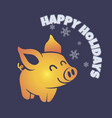 postcard template pig happy holidays vector image vector image
