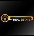 real estate golden key unique design vector image
