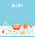 recipe template with cooking background vector image vector image