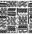 seamless hand-drawn ethnic black and white vector image