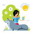 selfie girl with a dog flat style colorful vector image vector image