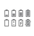 set of battery indicators icon charge level vector image