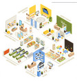 shopping mall isometric composition poster vector image vector image