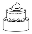 sketch contour of hand drawing two-story cake with vector image