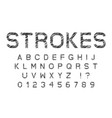 sketched strokes latin font letters and numbers vector image