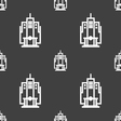 skyscraper icon sign Seamless pattern on a gray vector image vector image