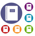 spiral notepad icons set vector image vector image