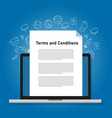 terms and conditions paper document on laptop vector image vector image