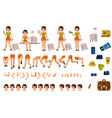 tourist woman creation kit - set of different body vector image vector image