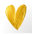 valentine heart gold paint brush on white vector image