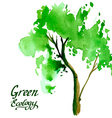 Young tree painted in watercolor vector image vector image