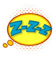 zzz speech bubble icon pop art style vector image