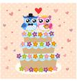 owls couple and wedding cake vector image