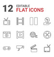 12 video icons vector image vector image