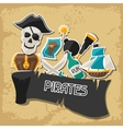 Background on pirate theme with stickers and vector image vector image