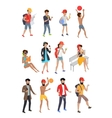 Big Set Summer People Characters vector image vector image