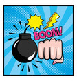 bomb with hand fist and pop art message design vector image vector image