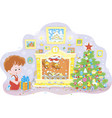 boy with a gift and santa in a fireplace vector image vector image