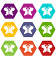butterfly wing patterns icons set 9 vector image vector image