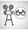 camera film vintage with movie glasses vector image vector image