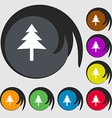 Christmas tree icon sign Symbol on eight colored vector image vector image