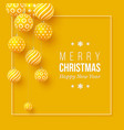 christmas yellow baubles with geometric pattern vector image vector image