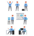 collection of icons depicting businessman at work vector image vector image