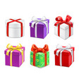 colorful gift boxes with bows and ribbons vector image