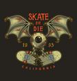 colour emblem design with skate vector image