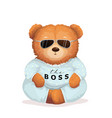 cool teddy bear in sunglasses bossy look fun print vector image