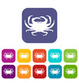 crab icons set vector image vector image