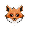 cute fox face cartoon style on white background vector image vector image