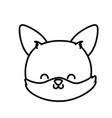 cute fox head cartoon icon thick line vector image vector image