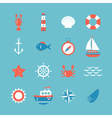 Decorative nautical icon set Marine theme vector image